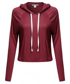 Women's Solid Long Sleeves Drawstring Cropped Hoodie