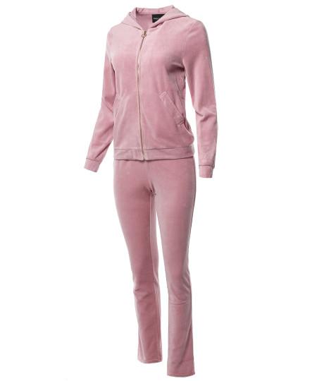 Women's Solid Soft Velvet Zip-Up Hoodie Workout Sweatpants Set