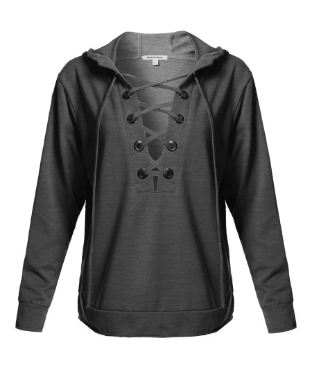 Women's Casual Solid Long Sleeve Front Lace Neck French Terry Hoodie