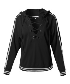 Women's Casual Solid Front Lace Neck  Striped Detail French Terry Hoodie