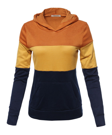 Women's Stylish Hoodie Front Kangaroo Pocket Color Block French Terry Top