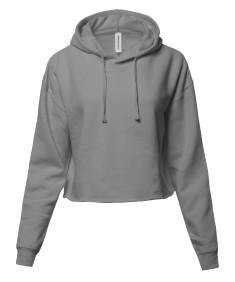 Women's Solid Fleece Long Sleeve Crop Hoodie