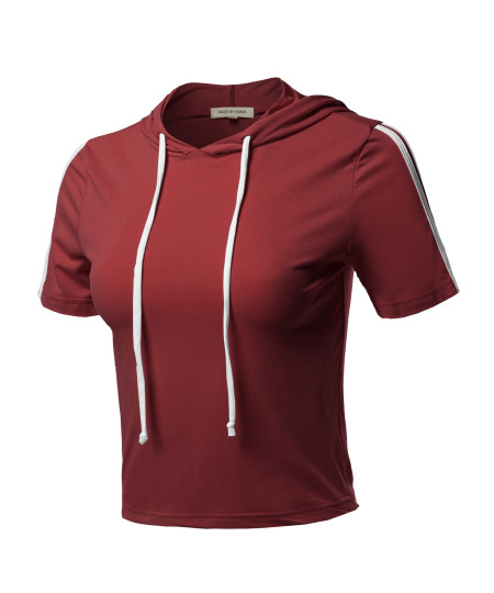 Women's Casual Comfortable Contrast Side Panel  Short Sleeve Hoodie Top