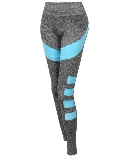 Women's Sports Yoga Fitness Workout Side Mesh Insert Stretch Long Leggings