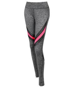Women's Sports Yoga Fitness Workout Front Mesh Insert Stretch Long Leggings