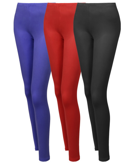 Women's 3 PACK Solid Various Color Full Length Stretchable Leggings