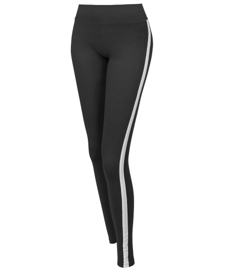 Women's Yoga Fitness Workout Tranning Side stripe Stretch Long Leggings