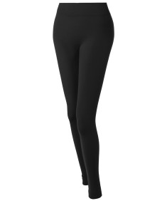 Women's Basic Solid Fleece Seamless Ankle Leggings