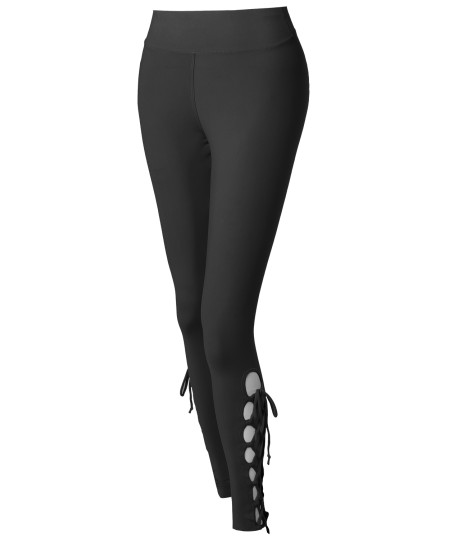 Women's Solid High Waist Criss-Cross Strappy Leggings