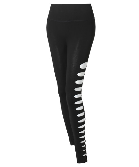 Women's Solid High Waist Sliced Cut-Out Leggings