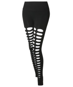 Women's Solid High Waist Double Slice Cut-Out Leggings