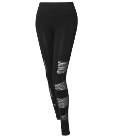 Women's Solid High Waist Side Mesh Detail Leggings