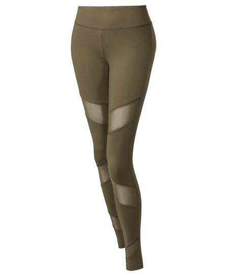 Women's Solid Front Asymmetrical Mesh Panel Detail Leggings