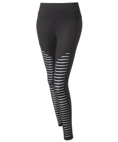 Women's Solid Mesh Stripe Cut-Out Detail Leggings