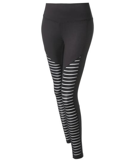 Women's Solid Mesh Stripe Cut-Out Detail Leggings
