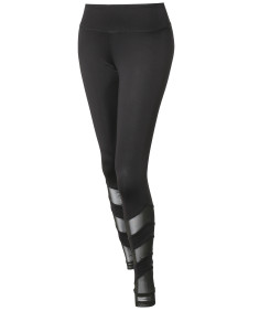 Women's Solid Mesh Panel Detail Leggings