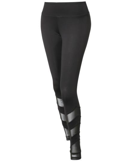 Women's Solid Mesh Panel Detail Leggings