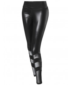 Women's Solid Faux Leather Mesh Panel Detail Leggings