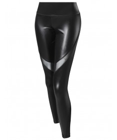 Women's Solid Faux Leather Single Mesh Panel Detail Leggings