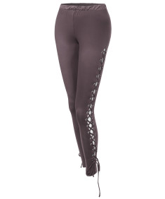 Women's Sexy Solid Double Lace up Cross Drawstring Leggings