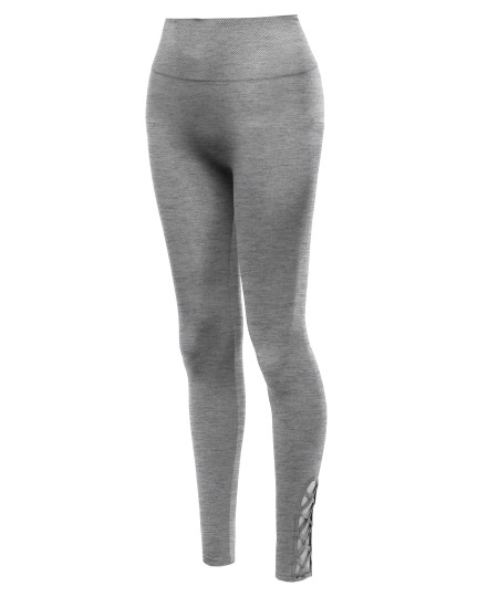 Women's High Waist Diamond Shape Band Tummy-Control Seamlesss Leggings