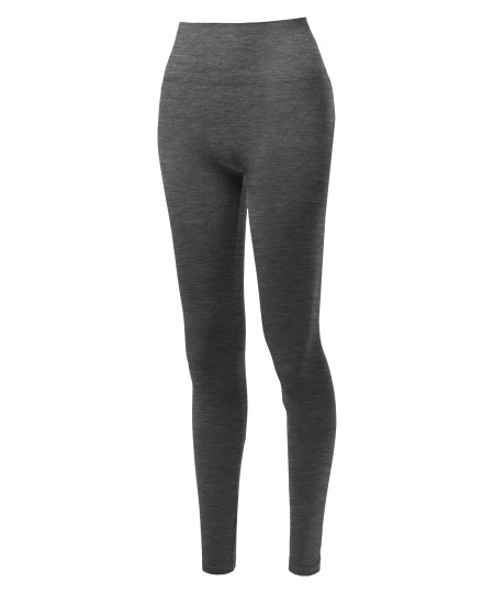 Women's Basic High Waist Diamond Shape Band Seamless Leggings