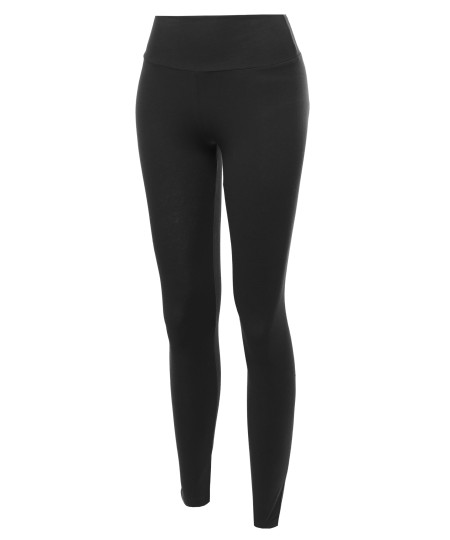 Women's Basic Solid High Waist Ankle Leggings