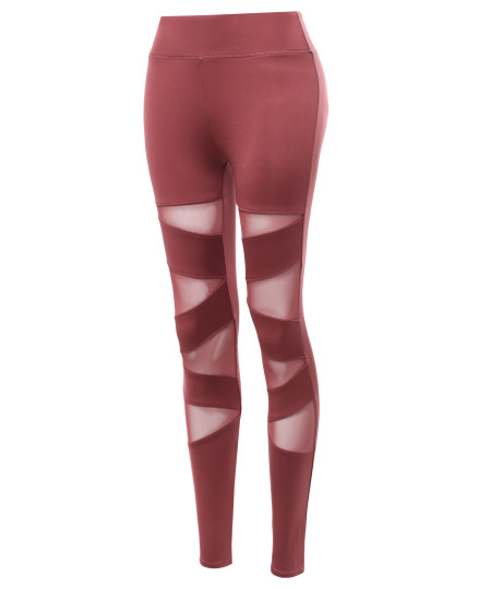 Women's Solid Front Asymmetrical Mesh Panel Detail Leggings