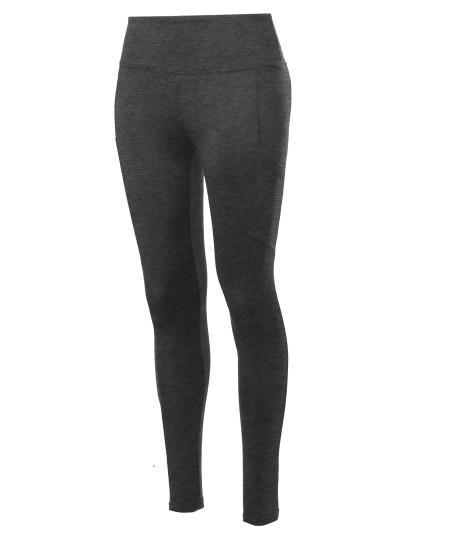 Women's High Waist Side Pockets Fleece Sports Yoga pants