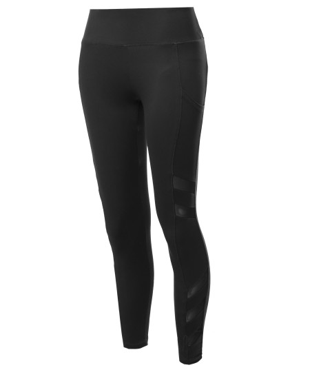 Women's High Waist Side Pockets & Side Mesh Yoga pants