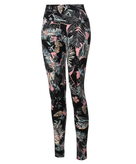 Women's High Waist Tummy Control Tropical Print Yoga Pants