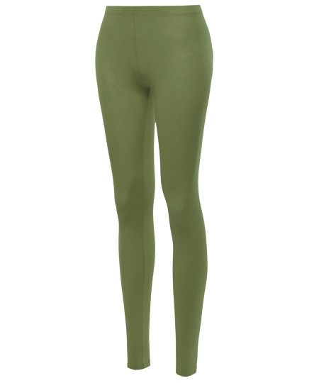 Women's Basic Cotton Ankle Solid Leggings
