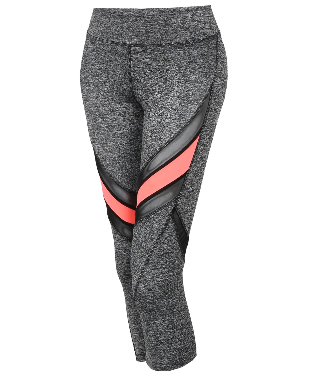 d6640548ca Women's Sports Yoga Fitness Workout Front Mesh Insert Stretch Capri Leggings