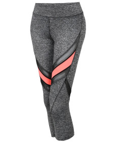 Women's Sports Yoga Fitness Workout Front Mesh Insert Stretch Capri Leggings