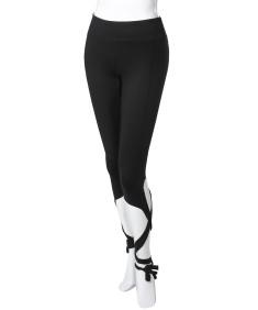 Women's Solid High Waist Cut-Out Tie Capri Leggings