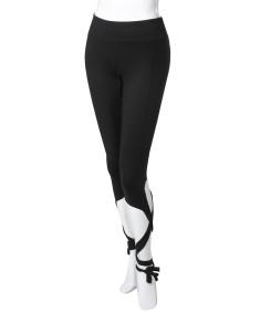 Women's Solid High Waist Cut-Out Tie Capri Leggings