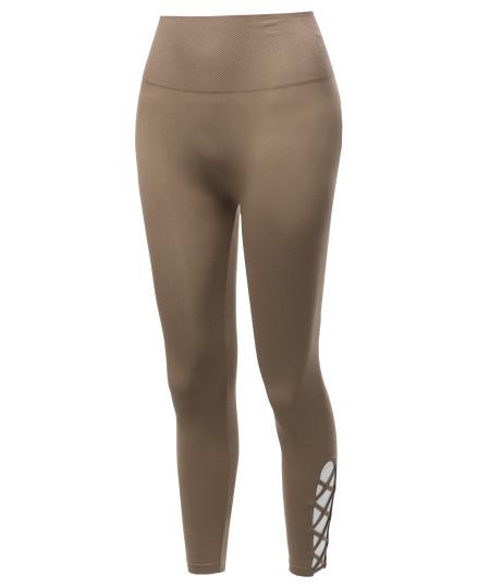 Women's High Waist Diamond Shape Band Tummy-Control Seamlesss Capri Leggings