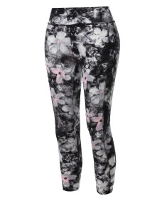 Women's Side Cross Straps Soft Brushed Floral Printed Capri Yoga Pants