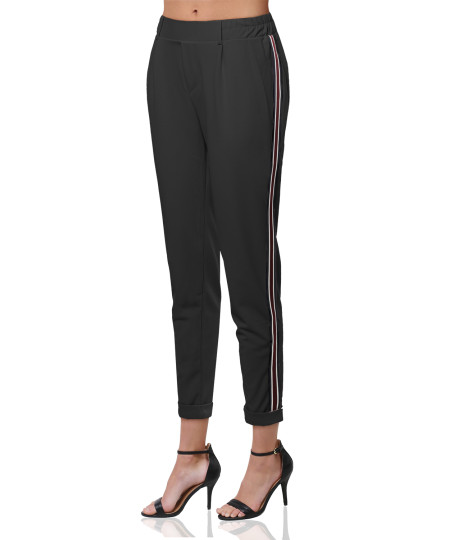 Women's Solid with Striped Elastic Trim Side Detail High Waist Pant