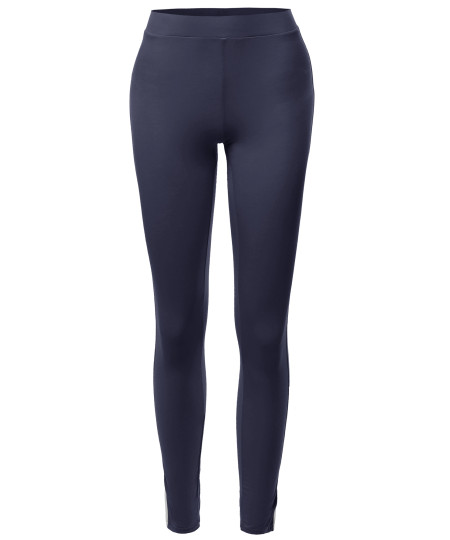 Women's Casual Elastic Contrast Side Panel Comfortable Pants