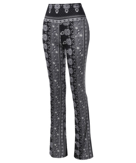 Women's High Waist Boho Print Bell Bottom Palazzo Pants