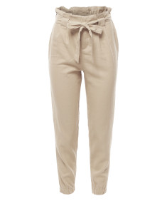 Women's Linen Paper Bag High Waist Pants