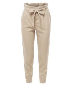 Women's Linen Paper Bag High Waist Pants