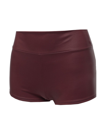 Women's Sexy Casual Faux Leather Fitted Shorts Hot Pants