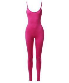 Women's Solid Neon Stretch Sleeveless One Piece Jumpsuit Bodysuit