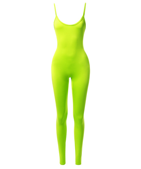 Women's Solid Neon Stretch Sleeveless One Piece Jumpsuit Bodysuit