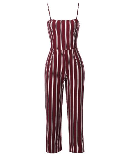 Women's Casual Stripe Camisole Jumpsuit Romper