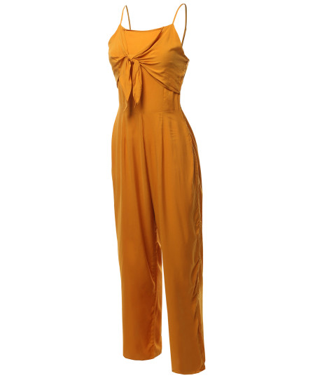 Women's Sexy Tube Top Self Tie Knot Front Romper Jumpsuit