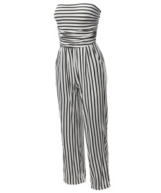Women's Casual Palazzo Stripe Tube Romper Jumpsuit