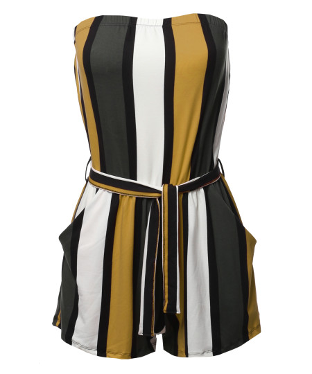 Women's Pinstripe Print Tube Romper Beachwear One-piece Jumpsuit